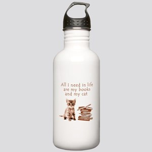 Cats and books Water Bottle