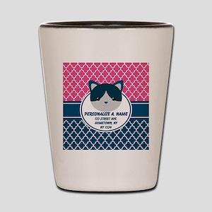 Navy Blue and Pink Quatrefoil Monogram Shot Glass
