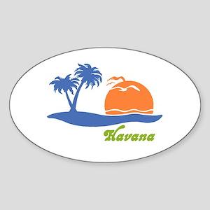 Havana Cuba Oval Sticker