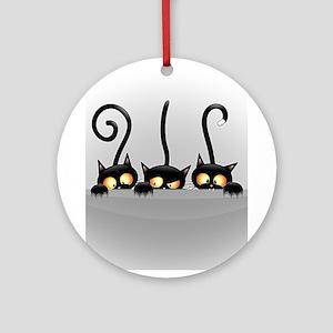 Three Naughty Playful Kitties Round Ornament