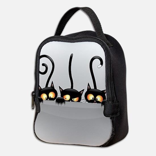Three Naughty Playful Kitties Neoprene Lunch Bag