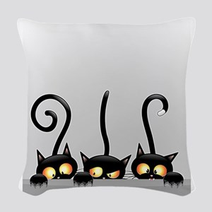 Three Naughty Playful Kitties Woven Throw Pillow