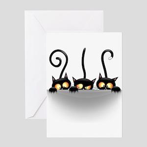 Three Naughty Playful Kitties Greeting Cards