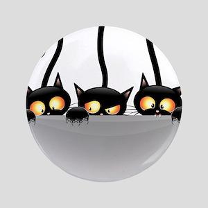 Three Naughty Playful Kitties Button
