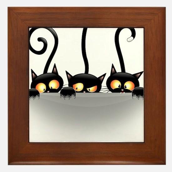Three Naughty Playful Kitties Framed Tile