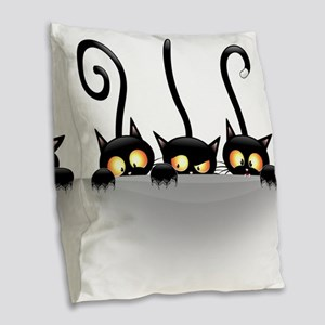 Three Naughty Playful Kitties Burlap Throw Pillow