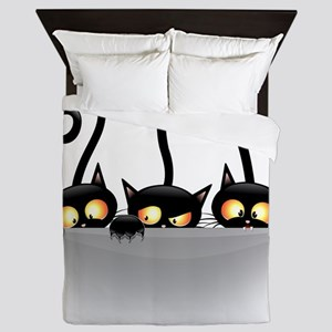 Three Naughty Playful Kitties Queen Duvet