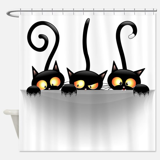 Three Naughty Playful Kitties Shower Curtain