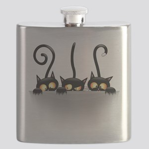 Three Naughty Playful Kitties Flask
