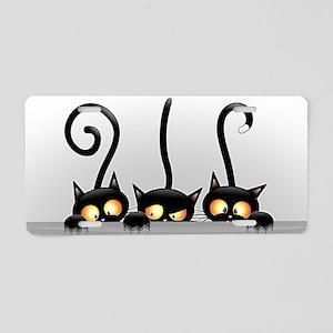 Three Naughty Playful Kitties Aluminum License Pla