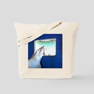 White Horse Blue Window Tote Bag