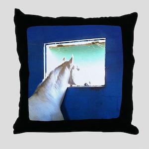 White Horse Blue Window Throw Pillow