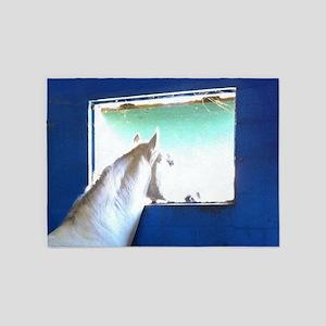 White Horse Blue Window 5'x7'Area Rug