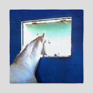 White Horse Blue Window Queen Duvet