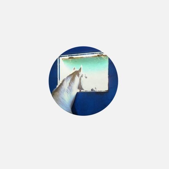 White Horse Blue Window Mini Button