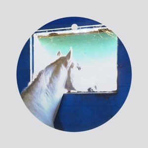 White Horse Blue Window Round Ornament