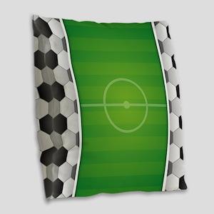 Soccer Football Field Burlap Throw Pillow