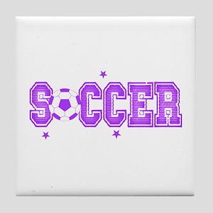 Purple Soccer girls Tile Coaster