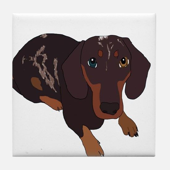 Cute Dashund Tile Coaster