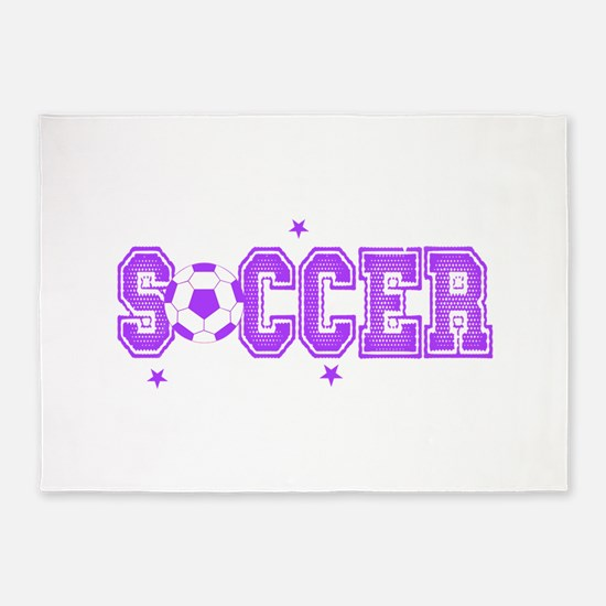 Purple Soccer girls 5'x7'Area Rug