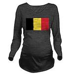 Belgium Flag Long Sleeve Maternity T-Shirt