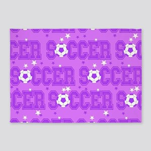 Purple Soccer Girl 5'x7'Area Rug