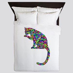 Primsatic Rainbow Cleaning Cat Queen Duvet