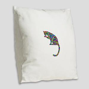 Primsatic Rainbow Cleaning Cat Burlap Throw Pillow