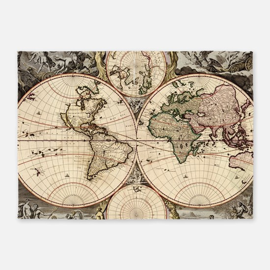 Vintage Map of The World (1690) 5'x7'Area Rug