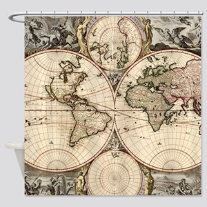 Vintage Map of The World (1690) Shower Curtain