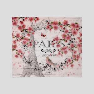 Paris spring Throw Blanket