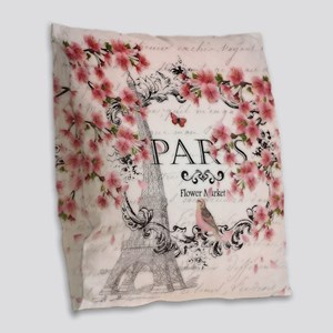 Paris spring Burlap Throw Pillow