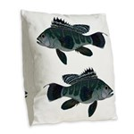 Black Sea Bass (Atlantic) Burlap Throw Pillow