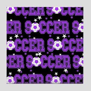 Black Soccer Girls Tile Coaster