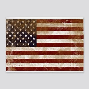 Distressed American Flag2 5'x7'Area Rug