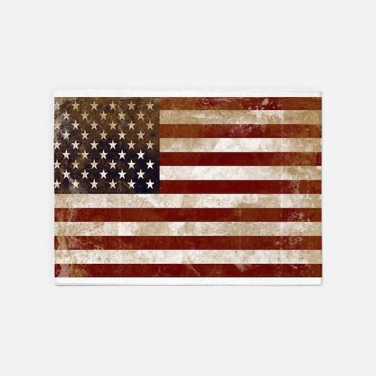 Distressed American Flag2 5'x7'Area Rug