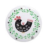 Folk Art Christmas Bird Round Ornament