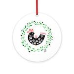 Folk Art Christmas Bird Round Ornament