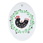 Folk Art Christmas Bird Oval Ornament