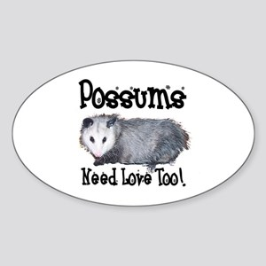 Possums Need Love Oval Sticker