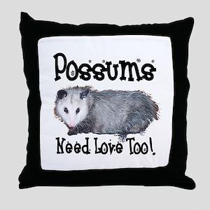 Possums Need Love Throw Pillow