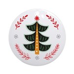 Folk Art Christmas Tree Round Ornament