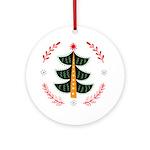 Folk Art Christmas Tree Round Ornament