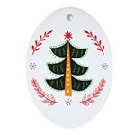 Folk Art Christmas Tree Oval Ornament