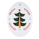 Folk Art Christmas Tree Oval Ornament