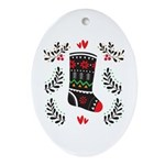 Folk Art Christmas Stocking Oval Ornament