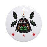 Folk Art Christmas Bell Round Ornament