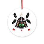 Folk Art Christmas Bell Round Ornament