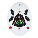 Folk Art Christmas Bell Oval Ornament