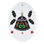 Folk Art Christmas Bell Oval Ornament
